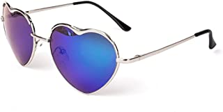 Womens Thin Metal Heart Shaped Frame Cupid Sunglasses w/Pouch