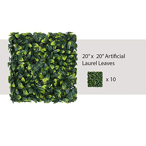 """ECOOPTS 20"""" x 20"""" Artificial Ivy Fence Greenery Panel Laurel Boxwood for Outdor Indoor Backyard Garden Privacy Fence Ivy Screen Decoration 10 Pack"""
