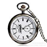 FEELHH Reloj De Bolsillo De Cadena Vintage,Pátina Verde Exquisito Y Único Tren De Cristal Transparente Numerales Romanos Literal Patrón Grabado Mecánico Manual De Reloj De Bolsillo Reloj De Hombre