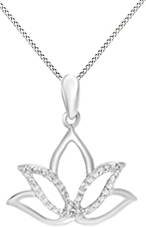 Natural Diamond Accent Outline Lotus Flower Pendant Necklace in 14K Gold Over Sterling Silver