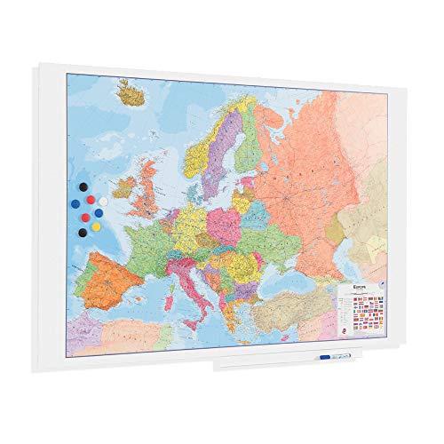 OFITURIA Mapa de Europa Superficie Magnetica Sin Marco Medida 150X100cm