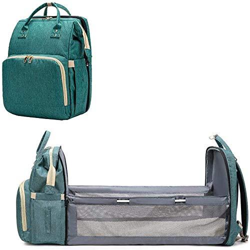 Mochila para bebés, mochila portátil y bolsa de pañales liviana plegable para cuna tres en uno, cama convertible, bolsa de almacenamiento de viaje multifuncional, adecuada para viajar (verde)