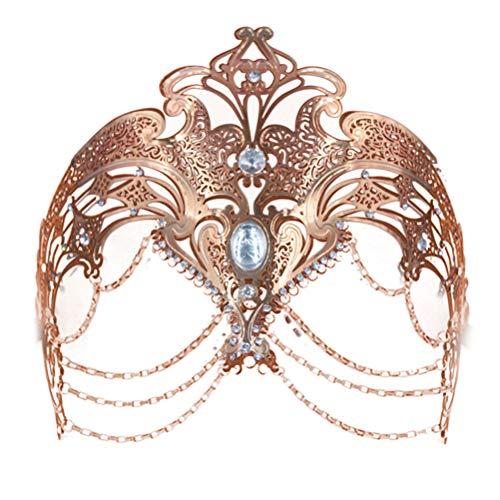 Vssictor Mscara de metal para mujer, color plateado y dorado, para fiestas de boda, disfraz veneciano, negro