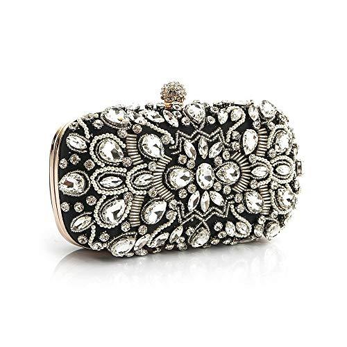 JKHOIUH Diamant Clutch Bag Abendtasche Brautkleid Tasche Lady Bag Dinner Bag Kette Cross Small Square Bag Bankett Handtasche (Farbe : 1)