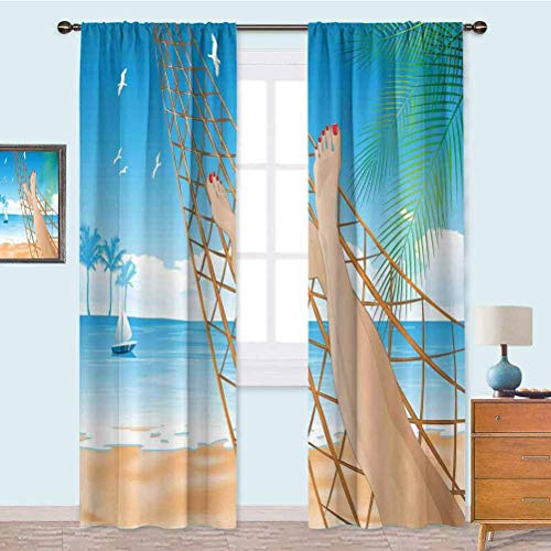 YUAZHOQI Room Darkening Curtains, Legs of The Sexy Lady Laying in The Hammock Toward The Ocean in Hawaiian Tropical, 2 Panels W52 x L84 Drapes for Living Room, Cream Blue