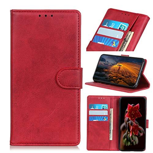 LMFULM® Hülle für Alcatel 3X 5048Y 2019 (6,52 Zoll) PU Leder Hülle Magnet Brieftasche Lederhülle Retro Rindsleder Style Stent-Funktion Schutzhülle Flip Cover Rot