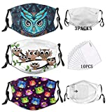 BZKIER Owls Hearts mask Funny Cute Animal Dust Washable Filter Reusable Mouth Windproof Warm Cotton owl mask foe Woman 3 Pcs Set with 10 Filters
