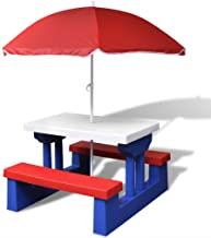 Festnight Sun & Shade Picnic Table with Umbrella, Umbrella Outdoor Garden Tables for Children Playing and Rest, Outdoor Fu...
