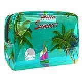 Bolsa de Maquillaje Bolsas de Aseo Organizador de cosméticos Bolsa con Cremallera para Mujer Hola Verano Palmera Barco Ave
