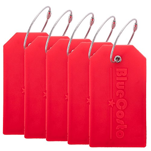 BlueCosto 5x Luggage Tags Travel Bag Suitcase Labels w/ Privacy Cover - Red