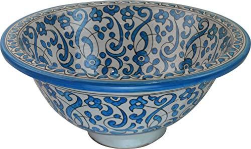 Orientalisches handbemaltes Keramik Waschbecken - Fes/Rabat weichen Grün - Gemalt innen heraus Di 40 H 16 cm