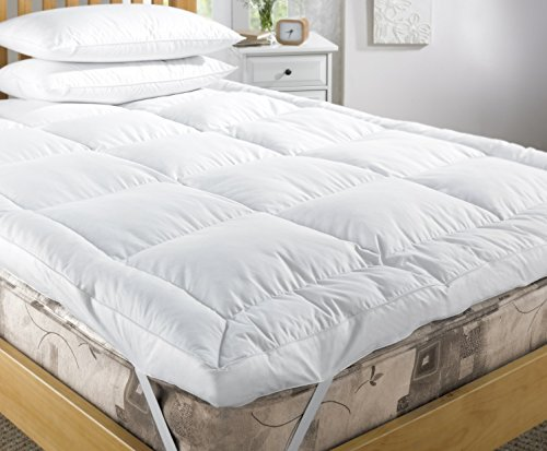 viceroy bedding Super King Mattress Topper Duck Feather and 15% Down Mattress Cover, 2' Thick Quilted Bed Topper with Pure Cotton Shell