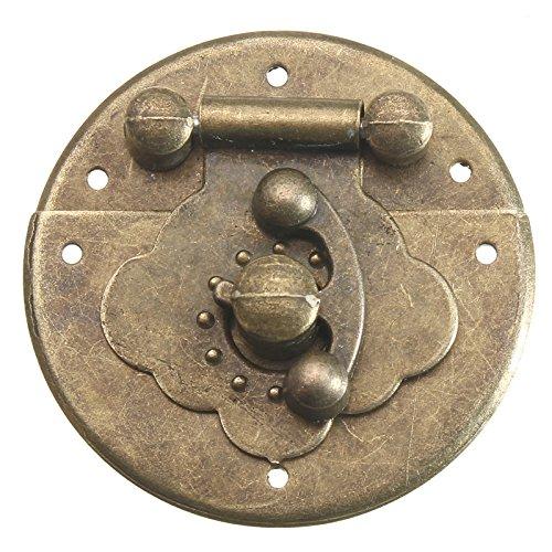 Antieke houten kist ronde Hasp Latch brons decoratieve sieraden doos slot met nagels
