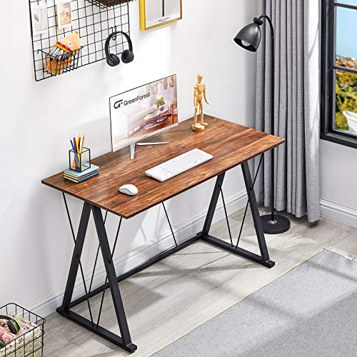 "GreenForest Office Desk, 47"" Computer Desk for Home, Simple Writing Study Desk with Heavy Duty Legs, 23.6"" Laptop PC Workstation for Workers Students, Walnut"