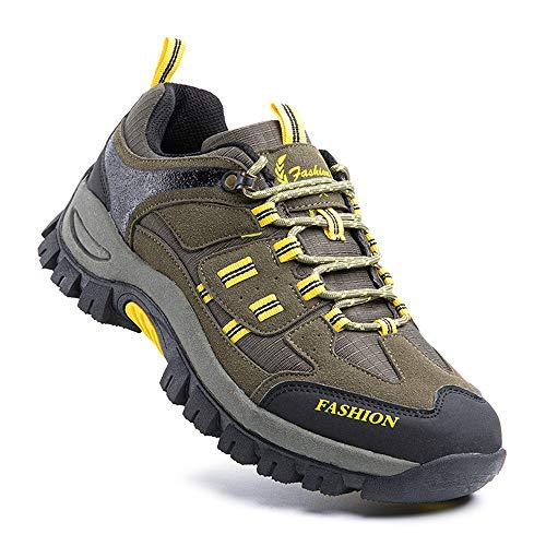 Zapatillas Trail Running Hombre Zapatos Senderismo Deporte Antideslizantes Cordones Ligero 5-Verde EU43