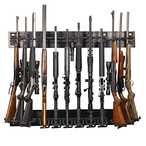 Hold Up Displays 12 Gun Rack Modern Black Steel Tactical Wall Mount for Rifles and Shotguns HD91 Made in The USA