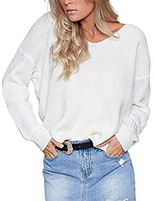 Eliacher Women Sweaters Casual Hollow Knit Top Blouse T-Shirt Loose Jumper Pullovers