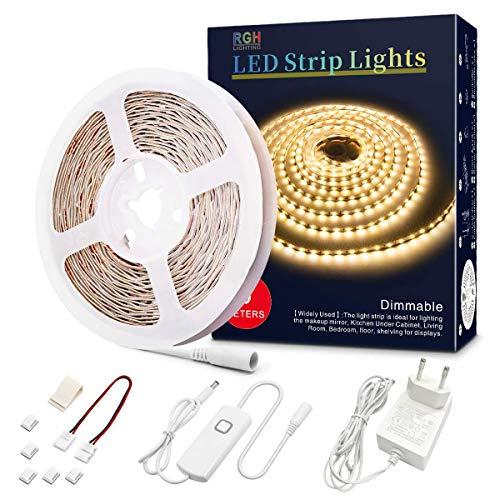 LED Strip 5m, LED Streifen Dimmbar, 12V LED Lichterkette , Nicht Wasserfest 2835 SMD 300 LED Leiste für Innendekoration (Warmweiß 2800-3000K)