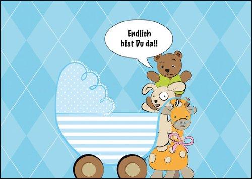 Kartenkaufrausch In 5-delige set: Blaue babykaart/wenskaart voor de geboorte van een jongen met knuffeldieren en kinderwagen: Eindelijk ben je er! !