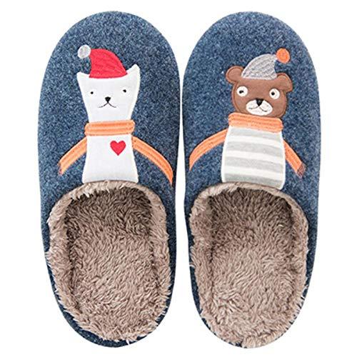 JINMENHUO Hedgehog Harajuku Zapatillas de Mujer algodón cálido Nieve casa de Invierno Mujer Zapatos Zapatillas de Interior para mujer, muñeco de Nieve Azul, 37