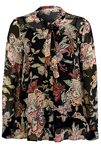 FROGBOX Damen Bluse Black Flower Bänder