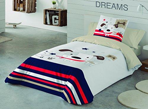 NATURALS Juego De Funda Nórdica Love Dog Multicolor Cama 105 (180 x 220 cm + 45 x 120 cm)