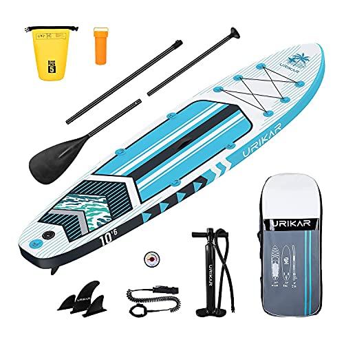 Tabla Paddle Surf Hinchable, Sup Paddle Board, Paddle Surf Hinchable Adulto con Accesorios Completos - Paddle Remo, Bomba, Kit de Reparación, Bolsa Impermeable, Mochila (Azul)