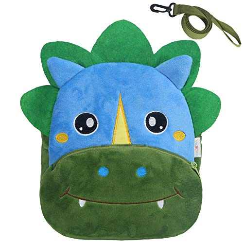 Toddler Backpack with Rein,VASCHY Kids Cute Plush Animal Backpack Small Daycare Backpack for Boys and Girls Dinosaur