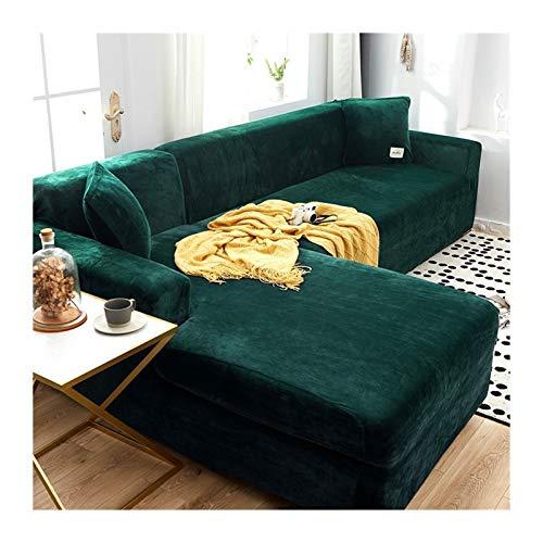 Funda de sofá de felpa de terciopelo en forma de L para sala de estar, funda elástica para sofá de esquina Chaise longue (color: color4, especificación: funda de almohada de 2 unidades)