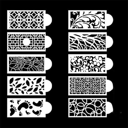 10pcs Plantilla de pastel de flor de PVC translúcida duradera flexible,Plantillas para Tarta, Molde de la Decoración del Estampado de Flores para Decorar Tartas Adecuado para Todo Tipo de mousses