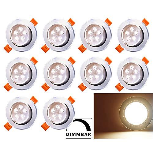 Hengda LED Einbaustrahler Schwenkbar 10X 5W Dimmbar 230V Einbauleuchte LED Deckenstrahler Warmweiß Wohnzimmer Deckenleuchte Bad Deckeneinbauleuchte