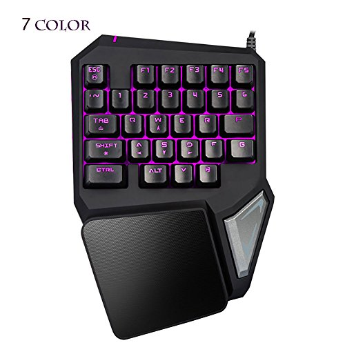 Magical Led Computer Gaming Keyboard - Globalama GK0001 (2017 New Design) PC Portable Wired USB Black Ergonomic Game Keypad Including 7 colors LED, 29 Programable Keys, Compatible With Windows System