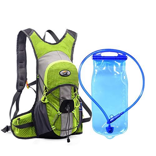 Tanluhu - Mochila deportiva al aire libre, escalada, senderismo, correr, bicicleta, ciclismo, mochila ultraligera, bolsa de agua, impermeable, hidratación 12 L verde y 2 LHydration