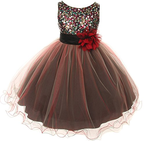 Multicolored Sequin Bodice Special Occasion Dress Infant Toddler Flower Girl Red Med