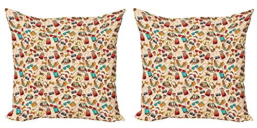 ABAKUHAUS Hipster Set de 2 Fundas para Cojín, Auriculares con Gafas de Sol, con Estampado en Ambos Lados con Cremallera, 60 cm x 60 cm, Multicolor