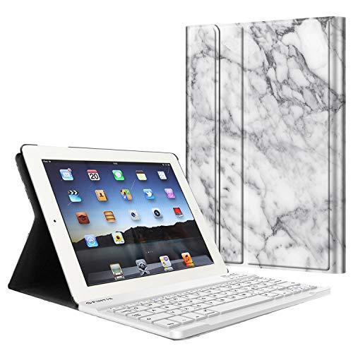 Fintie Tastatur Hülle für iPad 2 / iPad 3 / iPad 4 - Ultradünn leicht SlimShell Ständer Schutzhülle Keyboard Case mit magnetisch Abnehmbarer Drahtloser Deutscher Bluetooth Tastatur, Marmor Weiß