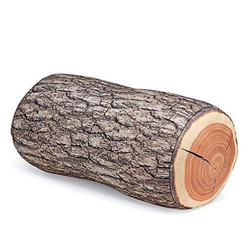 Welim - Cojín decorativo con un diseño de leño de madera de árbol con forma redonda y vetas, protege al medio ambiente, adecuado para habitaciones o sofás