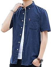 ODFMCE シャツ メンズ 長袖 半袖 夏 オシャレ ストライプ ビジネス カジュアル 大きいサイズ
