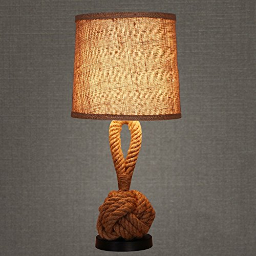 Pointhx Retro Nostalgic Hemp Rope Table Light Linen Lampshade Bedside Lamp Industrial Loft Edison E27 Desk Light Cafe Bedroom Bedside Bar Desktop Lantern