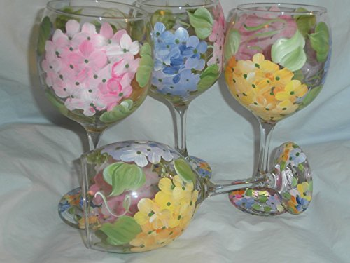 Hand painted Pastel hydrangeas. Pink, Yellow and purples. Wonderful for spring. Set of 4. 20 ounces each. Made in the usa.