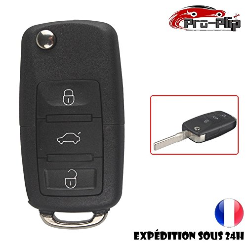 CLE PLIP Compatible Volkswagen Golf Transporter Sharan Scirocco Touran Tiguan 3 Boutons Coque N°1 @Pro-Plip