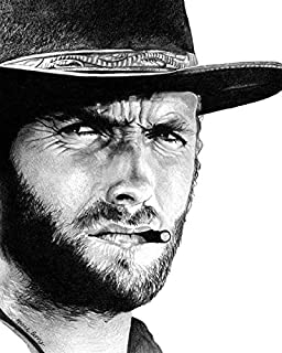 Clint Eastwood, Cowboy, Western, Vintage Hollywood, 8x10 Art Print by Wendy Hogue Berry