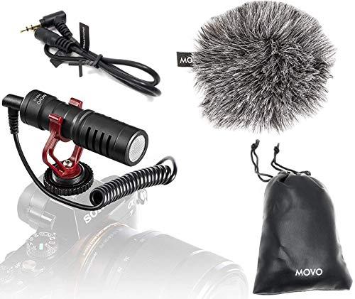 Movo VXR10 Micrófono de Condensador cardioide, Micro Shotgun Externo para cámara DSLR, móvil, GoPro, con Pantalla antiviento, Amortiguador y Funda