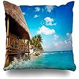 AmyNovelty Shore Blue Caribbean Playa del Carmen Playa Palapa Riviera Nature Cancún Verano México Fundas de Almohada Florales mexicanas para Viajes cómodos para Adultos,45x45cm