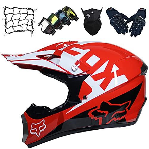 Casco Motocross Niños Gafas/Máscara/Guantes/Red Elástica (5 piezas), Casco Moto Cara Completa para Jóvenes Adultos para MTB Off Road Enduro Downhill ATV MX - con Diseño FOX - Blanco Rojo