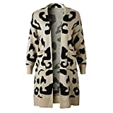 Leyeet Suéter de punto para mujer, de manga larga, chaqueta de punto, albaricoque, XL