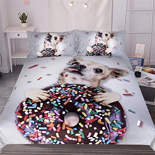 JNBGYAPS 3D Effect Printed duvet cover Dog and donut Bedding set with Pillocases (with Zipper Closure) Soft Microfiber Quilt Cover Single 135X200cm