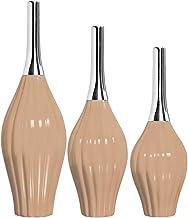 Trio De Vasos Leblom C/Alumínio Ceramicas Pegorin Branco