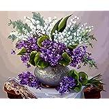初心者のためのキッズアダルト学生数字でペイントキャンバスキット創造性を使って、脳の貴重な親子ゲームをプレイする40x50cm(フレームレス)紫色の白い花