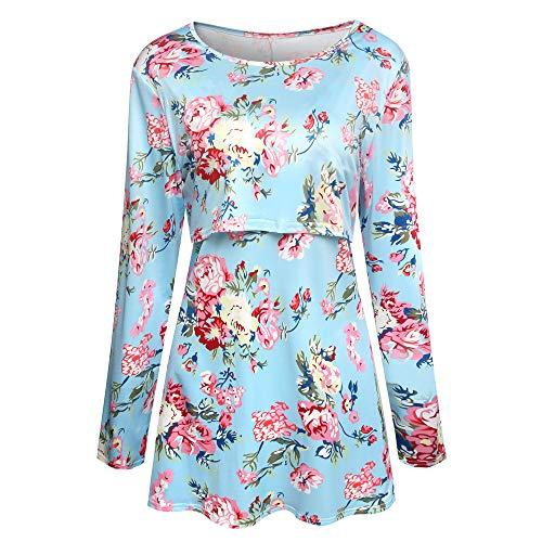 MORCHAN ❤ Champion Femmes maternité Allaitement Maternel Tee-Shirt d'allaitement imprimé t-Shirt à Manches Longues(FR-44/CN-XL,Bleu Ciel)